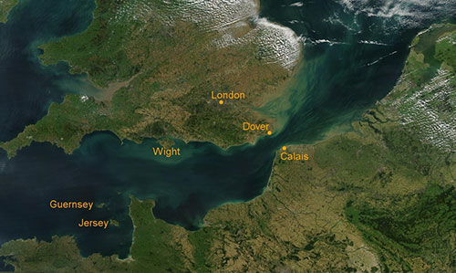 Satellite View of the Dover Strait